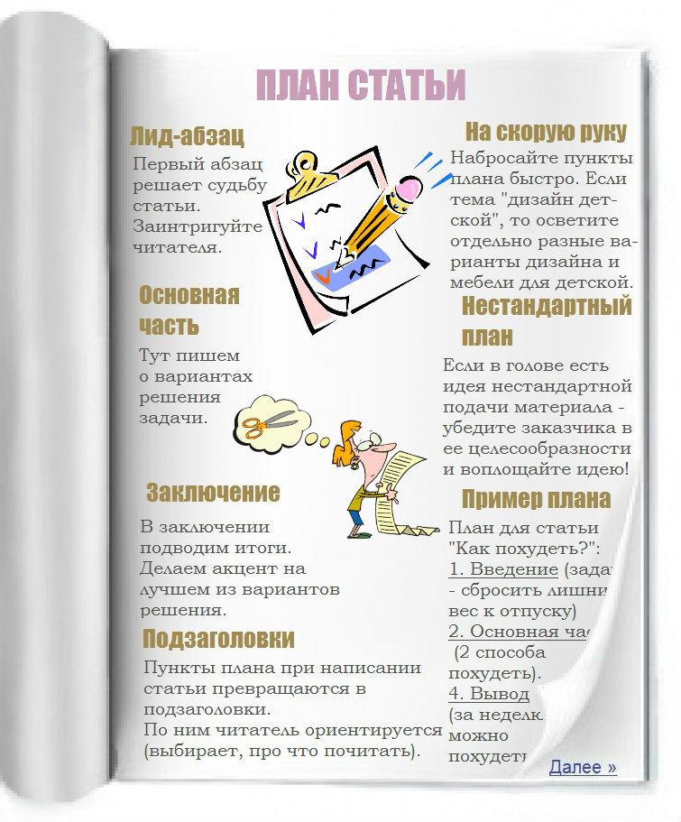 Написать план статьи - просто!