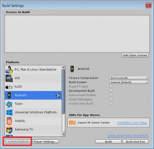 Подстраиваем под Андроид - File - Build Settings
