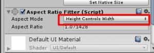 Измените Aspect mode на Height control width